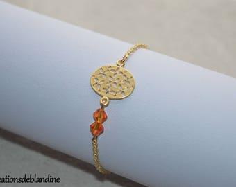 """Tina"" swarovski bracelet and gold."