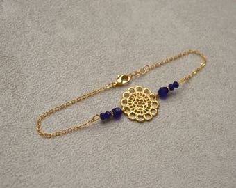 """""""Andromache"""" ankle bracelet plated gold, Bohemian crystal beads"""