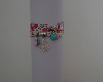 """Heidi"" Liberty bracelet double turn and sequins enamelled"