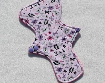 """Minky Topped. Reusable Modern Cloth Pad featuring a skull print (26cm/10.25"""")"""