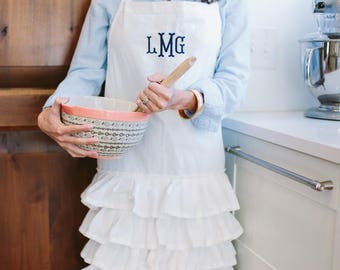 Personalized Embroidered Cream Ruffle Apron: Pick Your Font/Colors