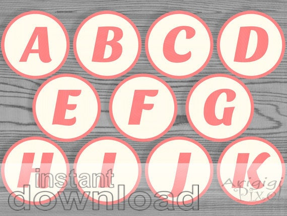 Printable alphabet and number - 2.5 in circles  - peach pink - for cupcakes, bingo...