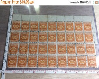10% OFF 3 day sale Vintage Old Commonwealth Of Pennsylvania 10 Cent Postage Stamps 36 On Sheet One Damaged Used