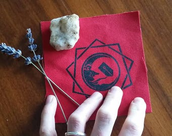 Red Occult Moon Sigil Patch