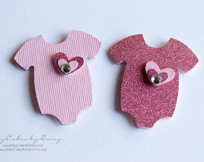 Featured listing image: 12 Baby Shower Cupcake Toppers - It's a Girl - Baby Shower - Baby Girl - Cupcake Topper - Pink Onesie with Layered Heart