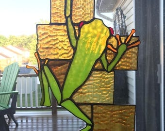 Stained Glass Frog Panel, Red-eyed Frog Stained Glass Panel, Frog Stained Glass Panel, Tree Frog Panel