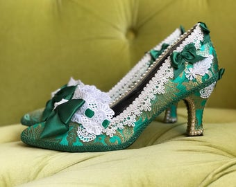 Emerald Jade Green & Metallic Gold Brocade Heels Shoes Marie Antoinette Costume Rococo Baroque Fantasy White Lace French Silk Wedding Shoes