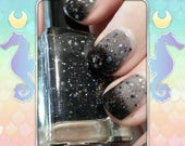 Darkness Seeps - Black/White/Clear thermal glitter loaded nail polish