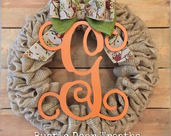 Front Door Wreath / Burlap Wreath / Initial Wreath / Front Door Letter Wreath / Fall Burlap Wreath / Halloween Wreath / Owl Burlap Wreath