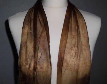 Soft Sheer Brown Tone Scrunch Tie Dyed Scarf, Belt, Sash, Head Band Wrap, Skinny Tie Scarf, Pussy Bow Scarf