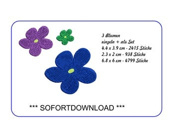 Machine embroidery applique flowers - SOFORTDOWNLOAD