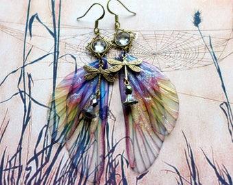 Fairy Wing Earrings, Fairy Earrings, Faerie Earrings, Lilac Earrings, Hand Painted, Dragonfly Earrings, Boho, Woodland Earrings