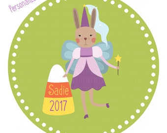Halloween Girls Printable Iron On Transfer, Personalized Fairy DIY T-Shirt Printable, DIGITAL FILE, Gift Idea, Holiday Shirt, Bunny Girl