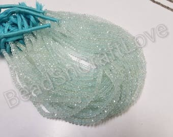 Aquamarine faceted rondelle beads 5/6/7 mm, 13inch     AAA quality