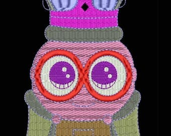 King Bob Embroidery Designs - Instant Download Filled Stitches Design 1070