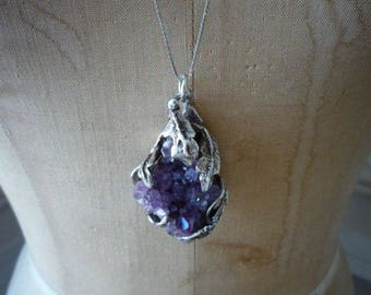 Great Vintage Raw Amethyst Sterling Silver Floral Hand Made Large Pendant