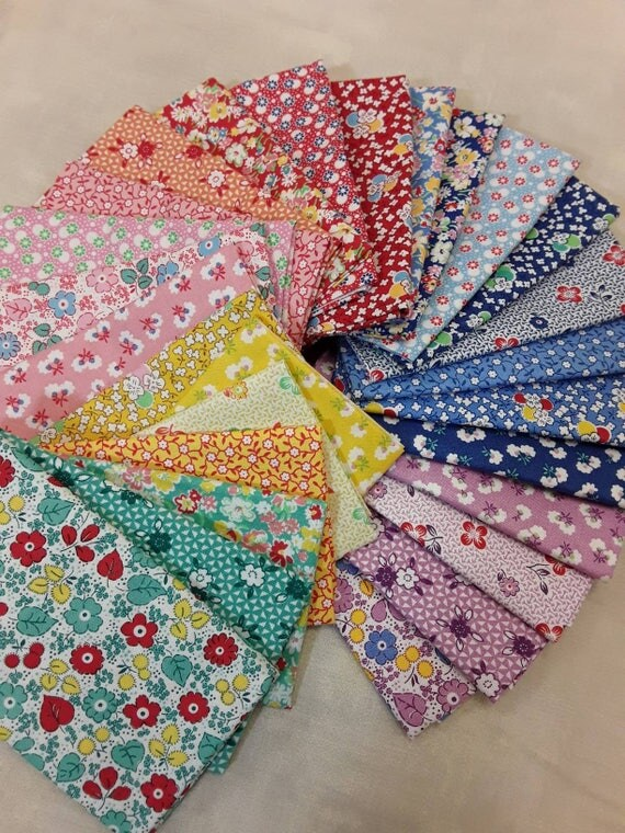 1930's Quilt Fabric Bundle of 27 Fat Eighths From Washington Street Studio Toy Chest Floral Collection Of Small Feedsack Themed Design