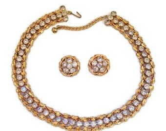 Rare Jonne House of Schrager Vintage Rhinestone Necklace Earrings Goldtone Mid Century