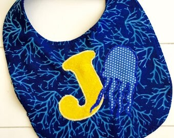 Hand Appliquéd Baby Bib - J is for Jellyfish