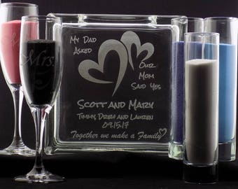 """Personalized Blended Family Sand Ceremony Set 8"""" Glass Block w/choice of 3 Pouring Containers Extra Avail"""