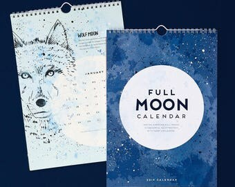 Full MOON Calendar  |  2018 Wall Calendar - artist calendar, bohemian calendar, colourful