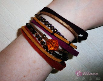 Fall, red, purple, gold color Cuff Bracelet