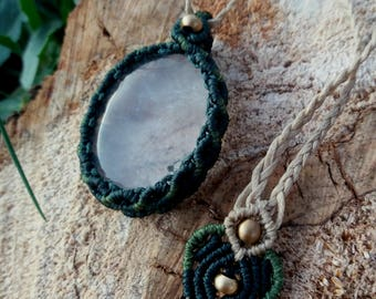 Macrame Necklace with Clear Quartz, Stone Macrame Necklace, Micro-macrame Necklace with Quartz, Forest Inspired Necklace, Macrame Jewelry