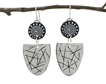 Polymer Clay Earrings, Black and White, Lightweight Earrings, Summer Earrings, Clay Earrings, Art Jewelry