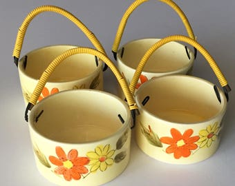 Four Vintage Retro Yellow Rice Bowls with raised Handles