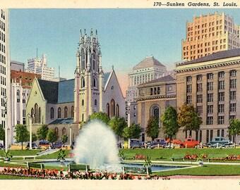 Sunken Gardens Downtown St. Louis Missouri Vintage Postcard (unused)