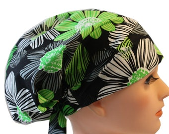 Scrub Hat Cap Chemo Bad Hair Day Hat  European BOHO Pixie Lime Green Black White Floral  2nd Item Ships FREE
