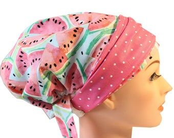 Scrub Hat Cap Chemo Bad Hair Day Hat  European BOHO Banded Pixie Tie Back Watermelon Pink Dot Band 2nd Item Ships FREE