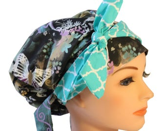 Scrub Hat Cap Chemo Bad Hair Day Hat  European BOHO Banded Pixie Tie Back  Purple Butterflies Lilac Teal Tie Band 2nd Item Ships FREE