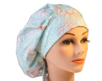 Scrub Cap Surgical Hat Chef   Dentist Hat Tie Back Bouffant Ceil Blue Green Peach 2nd Item Ships FREE