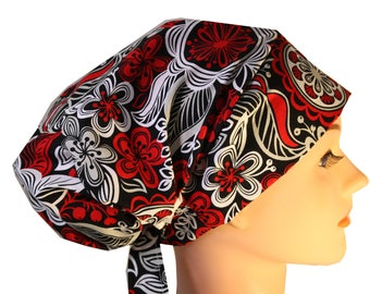 Scrub Hat Cap Chemo Bad Hair Day Hat  European BOHO Pixie Red Black and Silver Floral 2nd Item Ships FREE