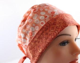 Scrub Hat Surgical Scrub Cap Chef Nurse Dr Chemo Hat Flirty Front Fold Pixie Orange Dots Glitter Damask P005 2nd Item Ships FREE