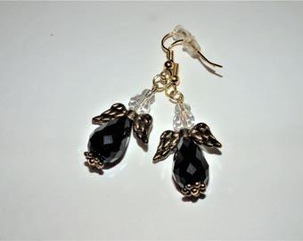 Black Crystal Angel Earrings