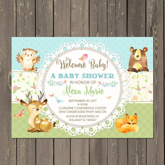 Woodland baby shower invitations forest animals baby shower il570xn filmwisefo
