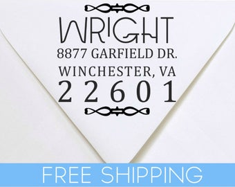 Art Deco Custom Return Address Stamp - Self Inking. Personalized rubber stamp with lines of text