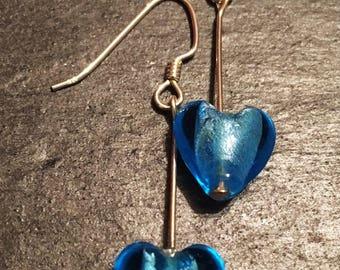Electric Blue Glass Heart Earrings