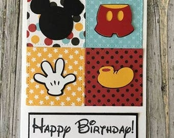 Mickey Mouse card-Handmade Mickey Mouse card-Mousekeeping card-Disney thank-you card-Mickey birthday card-Mickey Mouse Thank-you card