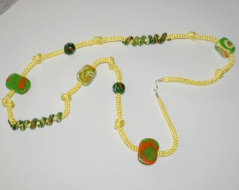 Knit with Terra cotta balls necklace