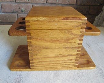 Wood Pipe Holder Humidor Dove Tailed With Pipe Cleaning Tools.