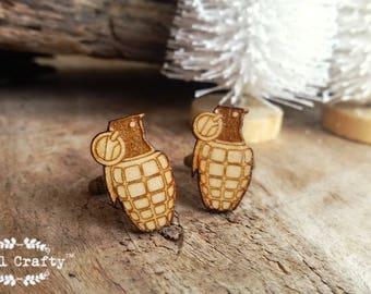 Grenade Wooden Cufflinks Army Bomb Thermite napalm Dad Grooms Best man Groomsman Rustic Wedding Birthday Gift Cuff links