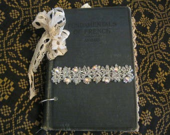 """Junk Journal made with a Vintage Book Cover Titled """"Fundamentals of French"""", French/Paris Themed Vintage Looking Junk Journal, Shabby Chic"""