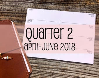 Traveler's Notebook A6 Size Week on Two Pages {Q2 | April-June 2018} #500-12