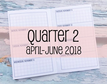 Traveler's Notebook POCKET Size Week on Two Pages Grid Horizontal {Q2 | April-June 2018} #600-17