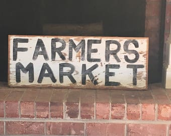 Farmers Market Sign//Vintage Farmhouse Sign//Rustic Farmhouse Sign//Kitchen Decor//Rustic Wall Decor//Rustic Wall Sign