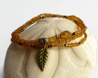 Delecate bracelet in amber and bronze, bohemian leaf bracelet
