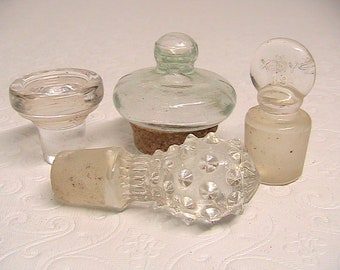 Stoppers, Small Glass Stoppers, Lot of 4 Small Stoppers